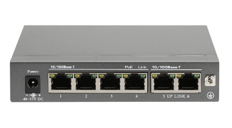 100M 6 Port 120W Manageable PoE Switch 24V Auto Negotiation 135 * 88 * 26mm